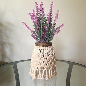 Macrame vase, Boho, table decor, Lavender
